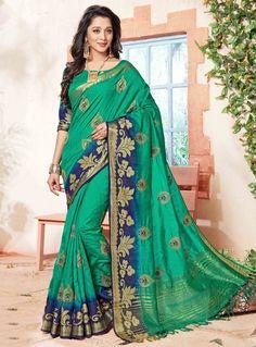 29cbe2449fb15 buy online green colour designer heavy party wear fancy fabric saree with  Art Silk designer blouse at joshindia