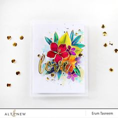 Totally Tropical Stamp Set watercoloured in jewel tones   Love from Script Words Die Set. Card by Erum Tasneem - @pr0digy0