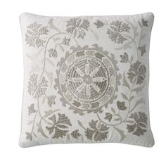 Silver Embroidered Pillow Cover-Embroidered Suzani