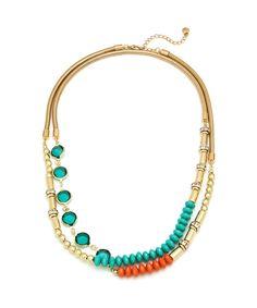 Bali Beach Layered Jewel Necklace - Turquoise and Orange