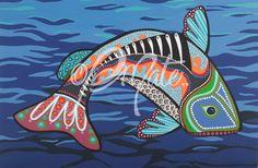 fish art   Djmate Contemporary Aboriginal Artist Original Prints