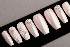 Pink Mirror Press on Nails with Rhinestones and Patterns Fake Nails False Nails Glue On Nails Handpainted Nail Art Wedding Nail Polish, Wedding Nails Design, Nail Polish Designs, Nail Designs, Gel Polish, Cute Nails, My Nails, Chrom Nails, Gel Nails At Home
