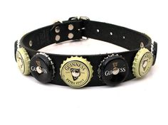 Leather Dog Collar with Guinness Bottle Caps Eco Friendly Recycled Pet Supplies Funky Unique Medium, Size M, to fit a 15-19in Neck, OOAK