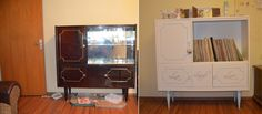 Old living room furniture repainted - Before and after Furniture Restoration, Diy Stuff, Living Room Furniture, Liquor Cabinet, Locker Storage, Shabby Chic, Diy Projects, Home Decor, Chic