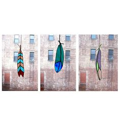 Stained Glass Feather suncatchers by Colin Adrian | UncommonGoods
