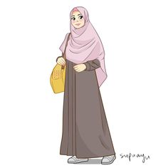 by ayusufaah on DeviantArt Hijabi Girl, Girl Hijab, Fashion Illustration Sketches, Illustration Girl, Girl Cartoon, Cartoon Art, Desenho Pop Art, Moslem, Hijab Drawing