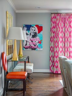 Eclectic living room. Pink drapes. Gold lamps. Design // Austin Bean Design Studio