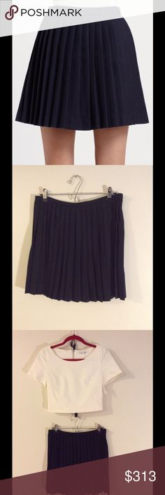 Alexander McQueen Navy Wool Pleated Miniskirt. Alexander McQueen navy blue mini skirt in wool.  Professionally dry clean. Like new condition, worn once. No tags. Waist to hem approximately 15.75 inches. Size 42. Made in Italy. Shown here with cropped white top also available for sale. Alexander McQueen Skirts Mini