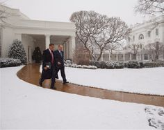 Barack Obama: President Barack Obama Leaves White House During A Snowstorm Photo Print -> BUY IT NOW ONLY: $8.99 on eBay!