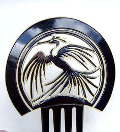 Vintage hair comb celluloid figural bird hair by ElrondsEmporium