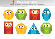 Owls and geometric shapes Preschool Classroom Decor, Owl Theme Classroom, Diy Classroom Decorations, Classroom Displays, Owl Learning, Preschool Learning Activities, Infant Activities, Maths Day, Fun Math