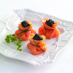 Smoked Salmon Beggars' Purses with Caviar and Crème Fraîche