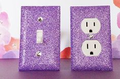 AMETHYST GLITTER SWITCH PLATE & OUTLET COVER. SET OF 2. ALL Styles Available! SwankElectric http://www.amazon.com/dp/B00NK19BQK/ref=cm_sw_r_pi_dp_RLKGub14XG46P