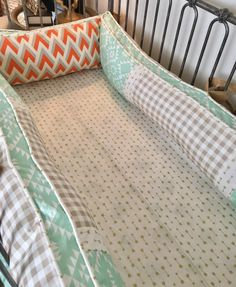Orange and Grey Arrowhead, Mint Aztec, Burlap, Ivory with Gold Arrows, and Tan Plaid Crib Bedding Queen Sheets, Bed Sheets, Tribal Bedding, Orange Bedding, Baby Boy Bedding, Baby Design, Queen Size, Cribs, Duvet Covers