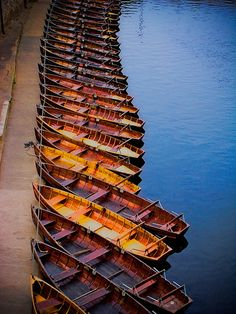 Boats on the River Wear, Durham England lined up and waiting to be messed about in...
