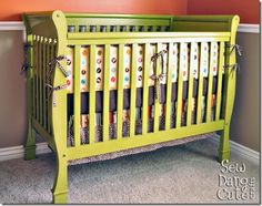 Paint a crib(or other stuff). 1-sand w/medium grit sandpaper(use orbital sander)and then with fine grit 2-clean w/tack paper cloth 3-Kilz primer 4-sand again w/fine grit sand block 5-spray paint w/gloss(she used Krylon dual primer+paint in Ivy leaf)