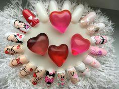 New Year's Nails, Love Nails, Nail Art Coeur, Valentine Nail Art, Heart Nail Art, Glitter Photo, Disney Nails, Funky Nails, Nail Decorations