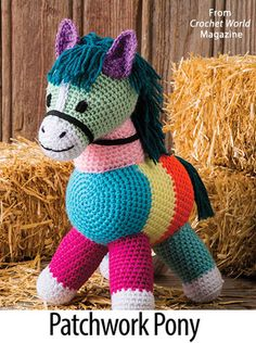 Patchwork Pony ~ size is high ~ easy level ~ written instructions only ~ CROCHET ~ babies and young children will love the bright colours. Patchwork Pony from the October 2016 issue of Crochet World Magazine. Think normal horse colors. Get A Sneak Peak at Crochet Pony, Crochet Rabbit, Crochet Bear, Crochet Patterns Amigurumi, Crochet For Kids, Amigurumi Doll, Crochet Animals, Crochet World, Stuffed Animal Patterns