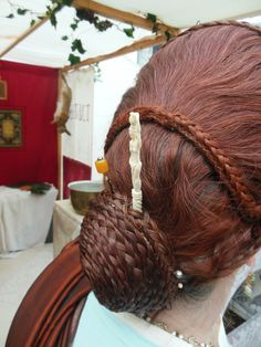Modern Flavian-style Roman wig worn at a re-enactment event at the British Museum Up Late in Pompeii, May 2013