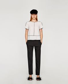 ZARA - WOMAN - TOP WITH CONTRAST PIPING