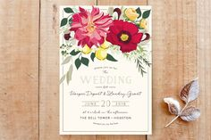 """Spring Blooms"" - Floral & Botanical Wedding Invitation Petite Cards in Blush by Susan Moyal."