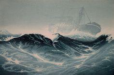 ✨ Oscar Droege (1898-1983) - Schwere See, Farb-Holzschnitt ::: Heavy Sea, Colour Woodcut