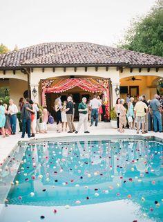 Festive pool garland