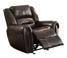 Homelegance Power Reclining Bonded Leather Traditional Chair with Accentuated Nail Headed Arm Rest, Brown * Check out this great product. (This is an affiliate link) Double Recliner Loveseat, Best Recliner Chair, Brown Leather Recliner Chair, Glider Recliner, Patio Chair Cushions, Patio Chairs, Adirondack Chairs, Traditional Chairs, Chair Pictures