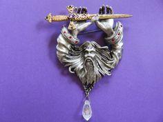 Mystical Merlin The Wizard Brooch Pin JJ Jonette Signed #wizard #brooch #mystical