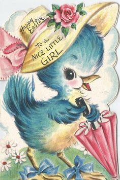 Bird with umbrella Vintage Easter, Vintage Valentines, Vintage Holiday, Vintage Greeting Cards, Vintage Postcards, Old Cards, Easter Parade, Hoppy Easter, Baby Kind