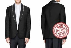 Punctuate your formal wardrobe with a modern twist in this black marble lapel trim tux blazer. Featuring single button fastening and two flap over pockets.  DON'T MISS THIS OPPORTUNITY.  ORIGINAL PRICE: $170.00 Wow Deals, Black Marble, Opportunity, Pockets, Blazer, Button, Formal, Modern, Fashion