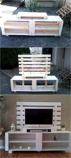 Recycled Pallet If you have pallets available at home, then don't rush to the store to get the TV cabinet for the new home. Use the recycled wood pallets to create a TV cabinet like the one presented as it is simple to create and it looks amazing. Recycled Pallets, Recycled Wood, Wood Pallets, Buy Pallets, Pallet Benches, Pallet Tables, 1001 Pallets, Pallet Wood, Diy Wood
