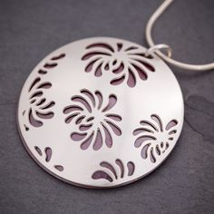 Silver & Red Chrysanthemum pendant by Sarah McCulloch