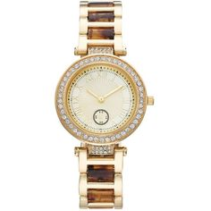 Women's Crystal Tortoise Watch ($30) ❤ liked on Polyvore featuring jewelry, watches, yellow, dial watches, yellow watches, tortoise shell jewelry, crystal watches and yellow crystal jewelry