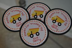 Dump truck construction favor tags favor tags by Robin519 on Etsy, $15.00