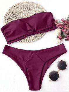 Knot Padded Bandeau Bikini Set BURGUNDY : Bikinis S | ZAFUL