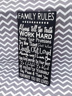 Family Rules Wood Sign (10x18)    Each sign is painted on pine wood. All signs are custom made at the time of purchase. Slight differences in