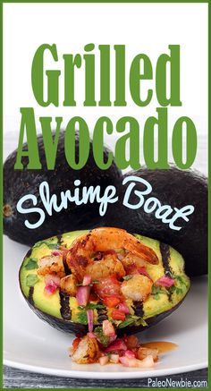 If you're firing up the grill for the Fourth, here's the perfect side dish…warm, creamy stuffed avocado with spicy shrimp and a zippy salsa. Simple and impressive!  #paleo #glutenfree -- by @paleonewbie