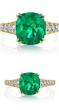 18K yellow gold Dore' ring featuring a 2.54 carat cushion cut emerald accented with 0.51 carats of round brilliant diamonds. By Omi Prive.