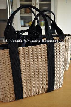 黒テープのバッグ。(クラフトかご780) の画像|ゆづ日和