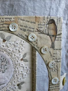 gentlework: keep a green tree in your heart.....love the stitchery and the book paper collage frame tool