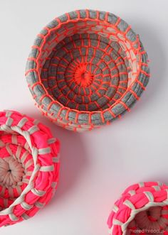 DIY : Make Neon Coil Bowls using long strips of fabric +  neon orange 'bricklayers line' string from the hardware store
