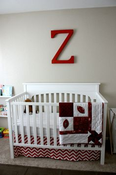 Project Nursery - Boy Red and White Nursery Monogrammed Wall