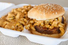 Loafaroni: Smoked Meatloaf on a grilled bun with Mac-NoCheese, BBQ & NoCheese Sauces with one side dish of Mac-NoCheese