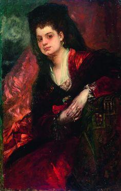 Hans Makart (1840 - 1884) A portrait of the singer Emilie Tagliana, ca.1875, oil/panel, 104,6 x 66,8 cm