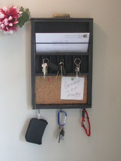 DIY Mail organizer? It looks like this is just made from an old skinny drawer. From Black Forest Cottage on Etsy.