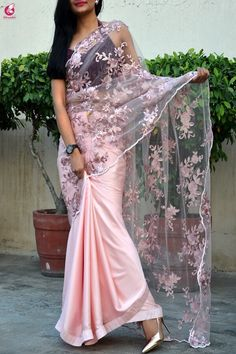 Buy Stunning Peach Colored Partywear Embroidered Satin-Tissue Half-Half Saree at Rs. Get latest Party wear saree for womens at Peachmode. Sari Design, Diy Design, Trendy Sarees, Stylish Sarees, Saree Draping Styles, Saree Styles, Saree Designs Party Wear, Fancy Sarees Party Wear, Indian Outfits