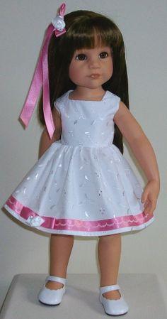 "Broderie anglaise dress & hair slide fits 18-20"" Dolls Designafriend/Gotz hannah"