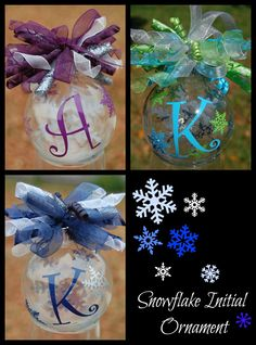 Floating Snowflake Initial Christmas Ornament - good gift for the cousins. Initial Christmas Ornaments, Christmas Balls, Christmas Time, Christmas Holidays, Christmas Decorations, Homemade Christmas Ornaments, Holiday Ornaments, Ornament Crafts, Christmas Projects