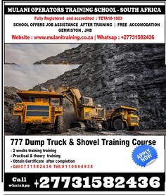 FOR BOOKINGS AND MORE INFORMATION CHECK SOME OF THE COURSES WE OFFER. +27731582436 +27731582436 Mulani Operators Training school of Excavator ,Dump Truck, drill rig,LHD scoop,Mobile crane GERMISTON, JOHANNESBURG. DURBAN, MPUMALANGA,GABORONE Pietermaritzburg, Newcastle Bela-Bela / Warmbad, Dendron, Giyani, Lebowakgomo, Lephalale / Ellisras, Louis Trichardt ,Lulekani, Mankweng, Marblehall, Modimolle / Nylstroom,Modjadji /Duiwelskloof,Mokopane / Potgietersrus,Musina… Training School, Skill Training, Training Courses, Co2 Welding, Argon Welding, Louis Trichardt, Drilling Rig, Dump Truck, Newcastle